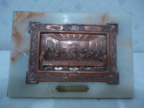Antigo Quadro Mesa Cobre E Marmore Ceia De Cristo