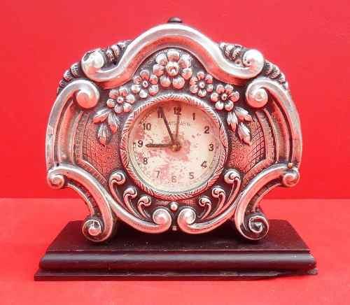 Antigo Relógio De Mesa Em Jacarandá E Prata Suiço