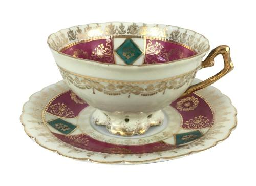 Xicara De Cha Porcelana Antiga Austriaca Magnifica
