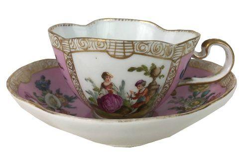 Magnifica Xicara Porcelana Meissen Antiga Sec Xviii