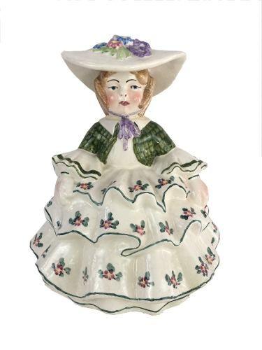 Antigo Bibelo Escultura Dama Ceramica Europeia 27cm