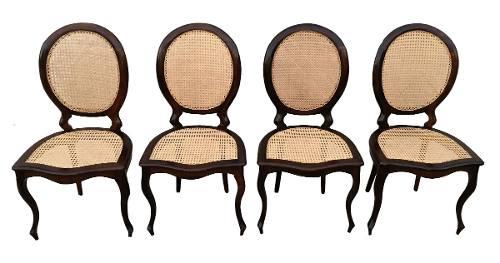 Conjunto Cadeiras Medalhão Jacarandá E Palhinha Indiana