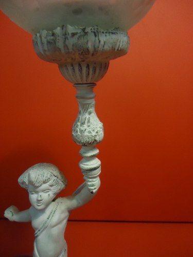 Luminaria Antiga Abajur Estatueta Em Bronze Cupula Vidro