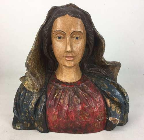 Antiga Imagem Busto Santa Virgem Maria Em Madeira