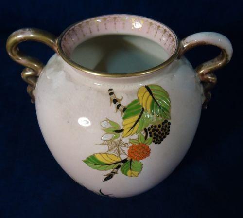 Antigo Vaso Ingles Carlton Ware Rosa Com Alças Douradas
