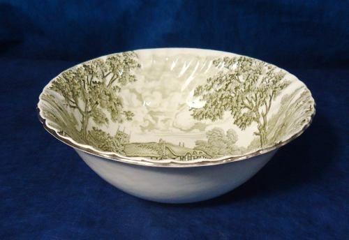 Antiga Saladeira Porcelana Inglesa Paisagem Campestre