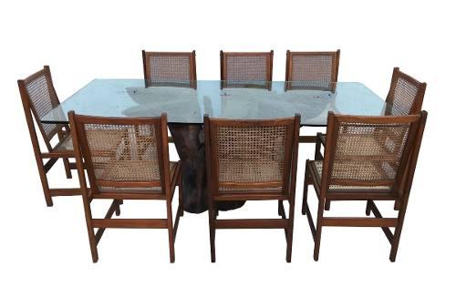 Mesa De Jantar Tronco De Arvore 8 Cadeiras Palhinha Design