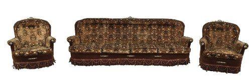 Antigo Conjunto Sofa E Poltronas Apliques Em Bronze