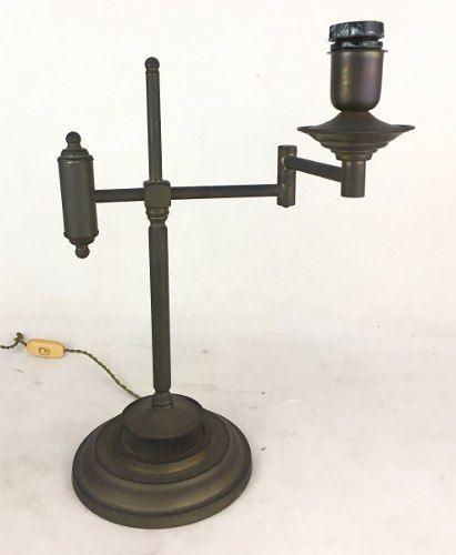 Antiga Luminaria Abajur Bronze Braço Ajustavel