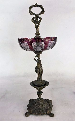 Antiga Fruteira Centro De Mesa Em Cristal E Bronze