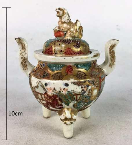 Pequeno Potiche Açucareiro Porcelana Satsuma Antigo