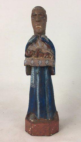 Antigo Santo São Benedito Rustico 37cm