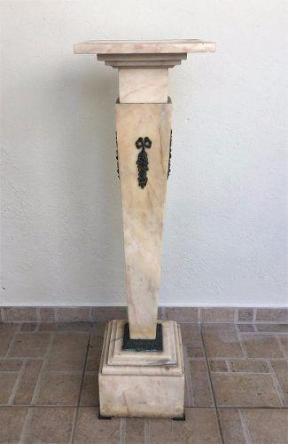 Antiga Coluna Em Mármore Apliques Em Bronze