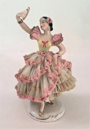 Antiga Bailarina Escultura Alemã Porcelana Dresden