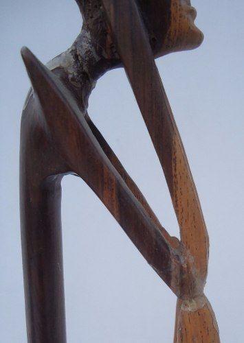 Par De Escultura Africana Em Madeira Belo Design