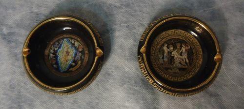 Antigo Par Cinzeiro Detalhe Ouro 24k Grecia