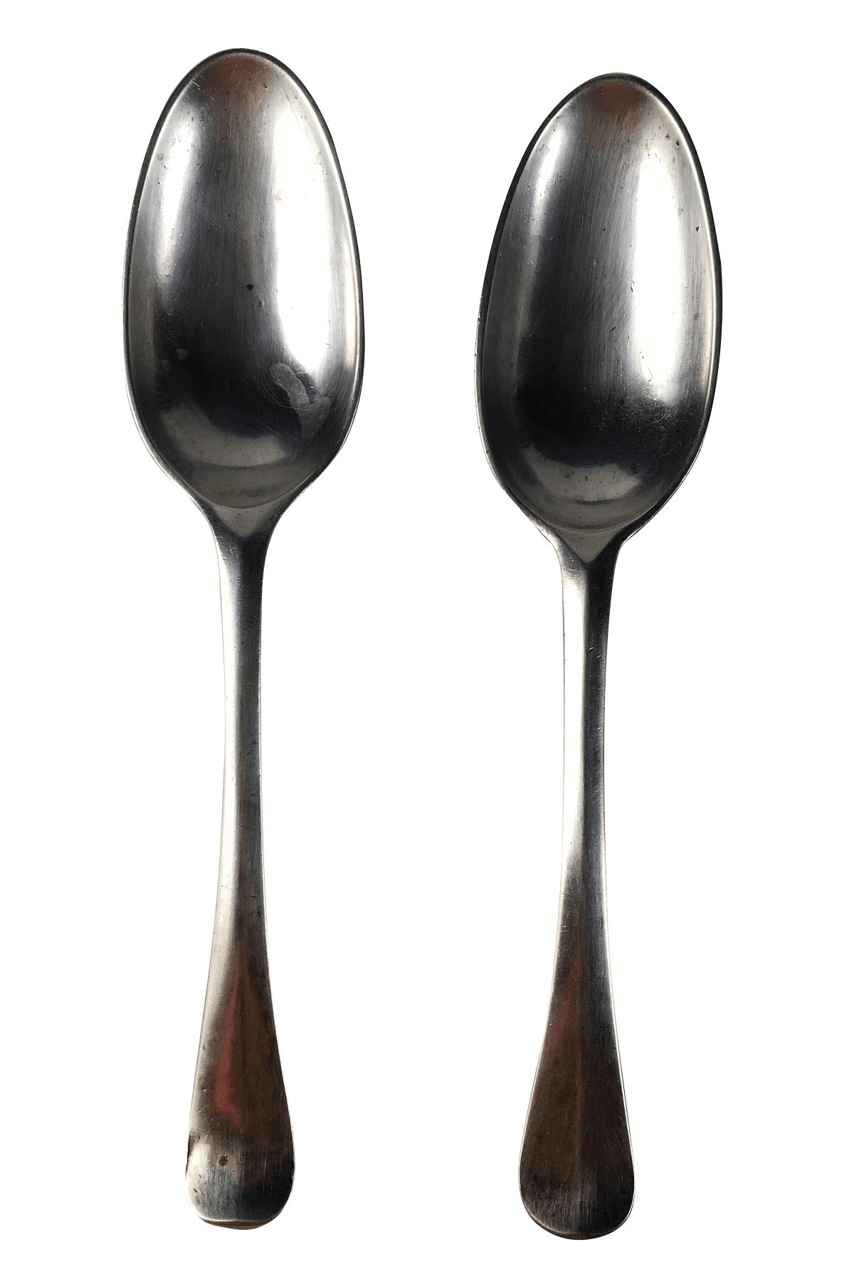 2 Colheres De Sopa Prata De Lei Antigo Contrastada