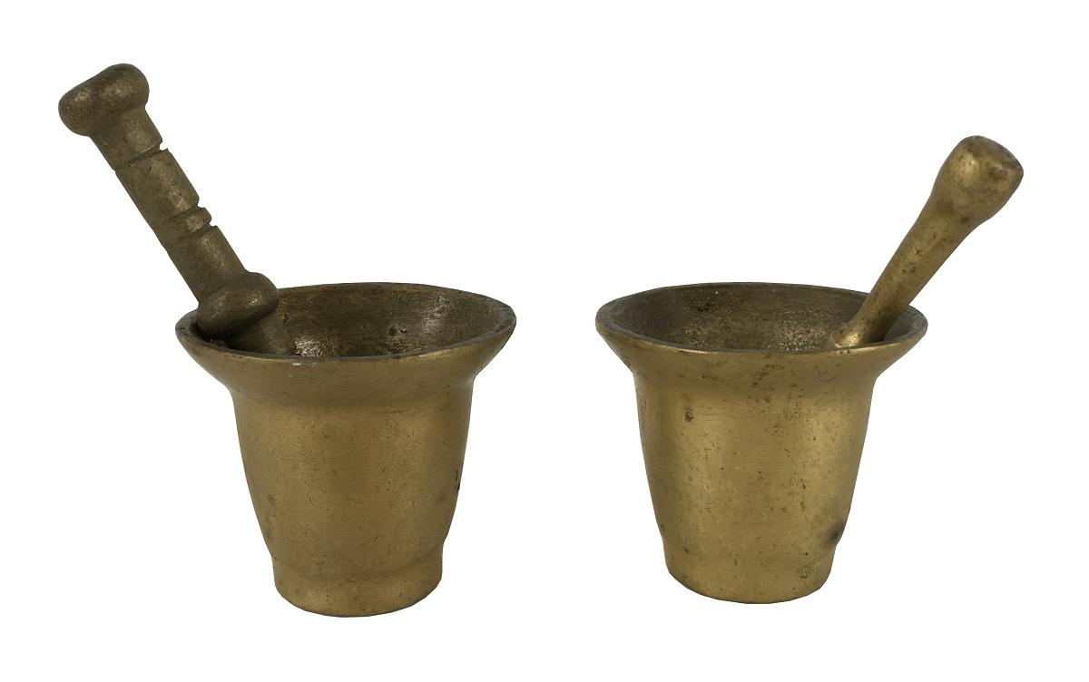 2 Pilões Almofariz Em Bronze Miniatura