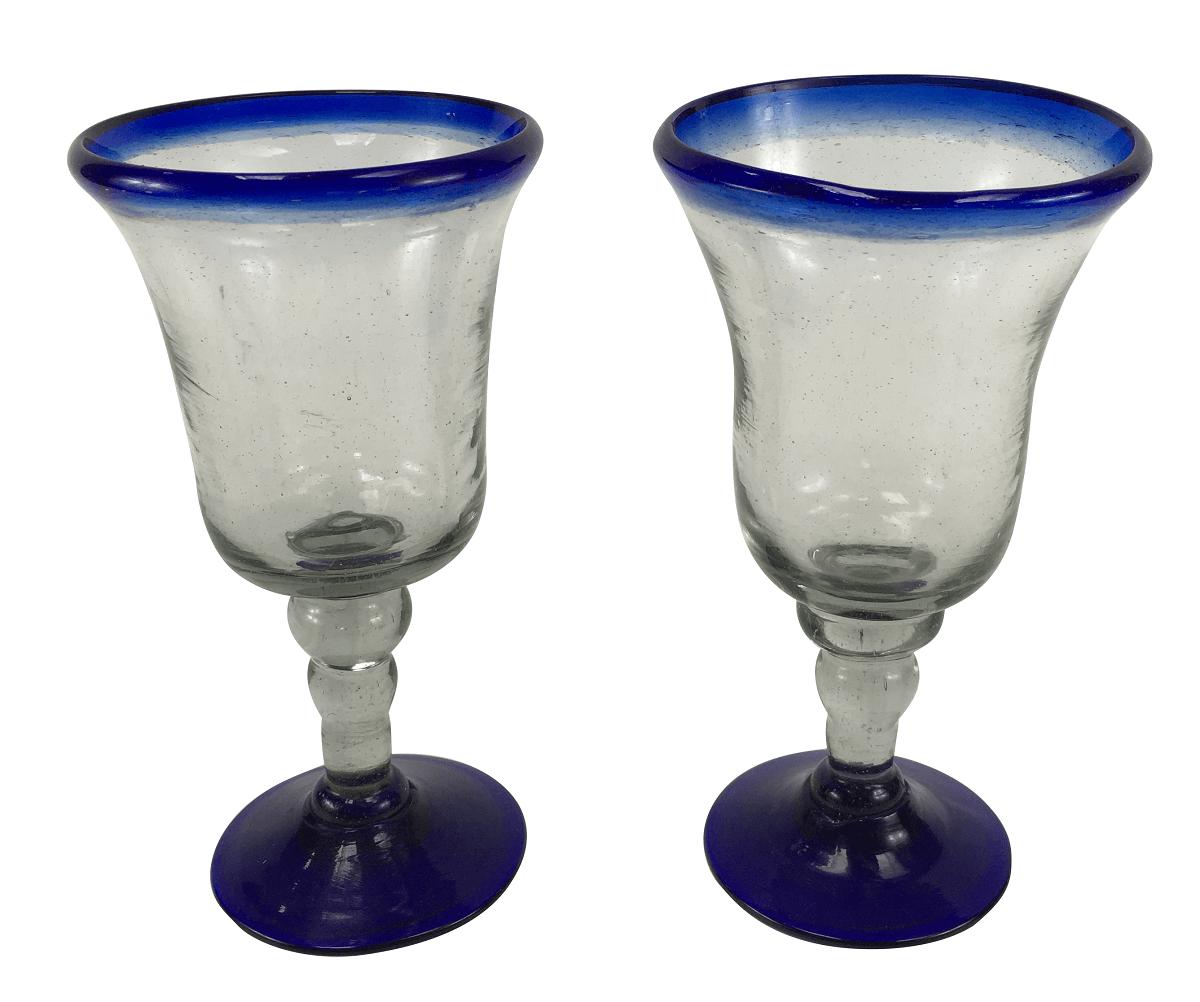2 Taças Grande Vidro Murano Azul