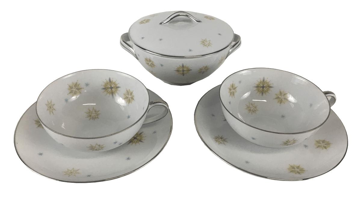 2 Xicaras De Cha E Açucareiro Porcelana Antiga Japonesa Sone China