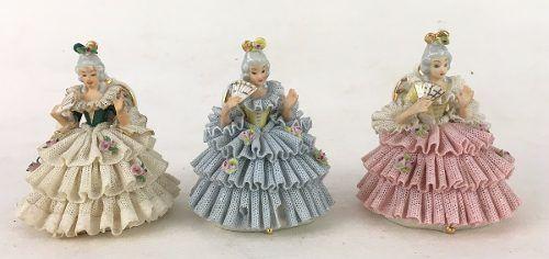 Trio De Escultura Dama Porcelana Rebis Saia Rendada