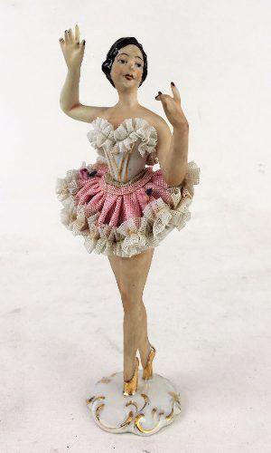 Magnifica Escultura Bailarina Porcelana Alemã Dresden