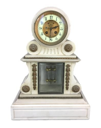 Magnifico Relógio Antigo Francês 1855 Em Mármore E Bronze