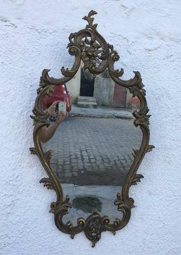Antigo Espelho Todo Em Madeira Entalhada Dourado Envelhecido