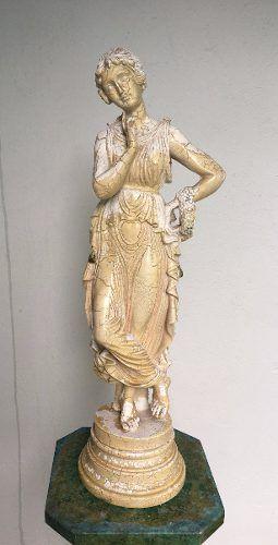 Antiga Escultura Dancarina Po De Marmore E Resina 61cm