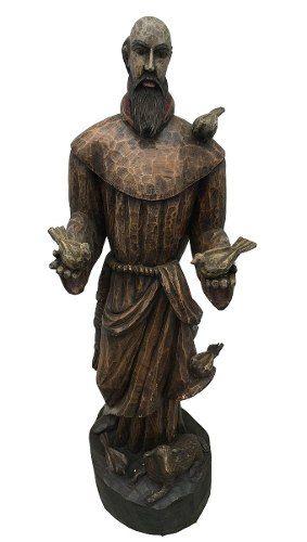 Magnifica Escultura Santo São Francisco Em Madeira 147cm Altura