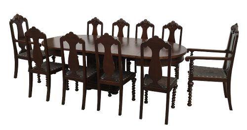 Antiga Mesa De Jantar Manoelino 10 Cadeiras