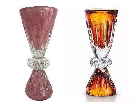 Grande Vaso Em Cristal Murano Sao Marcos Ambar Com Bolhas