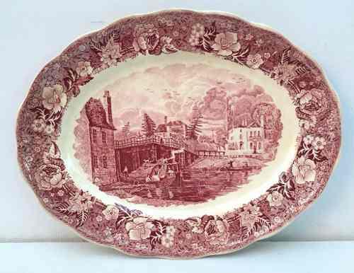 Antiga Travessa Inglesa Palissy Pottery 31x24