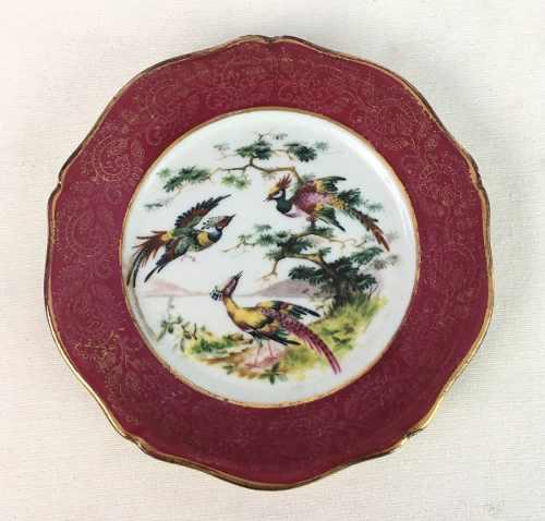 Antigo Pratinho Porcelana Limoges Passaros