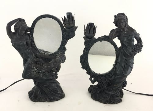 Par Luminaria Com Espelho Estilo Art Noveau Em Resina