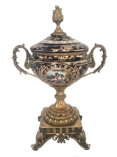Magnifico Vaso Potiche Anfora Porcelana E Bronze