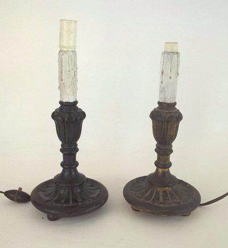 Antigo Par De Castiçal Adaptado Luminária Em Madeira