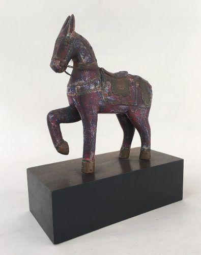 Escultura Cavalo Em Madeira E Metal