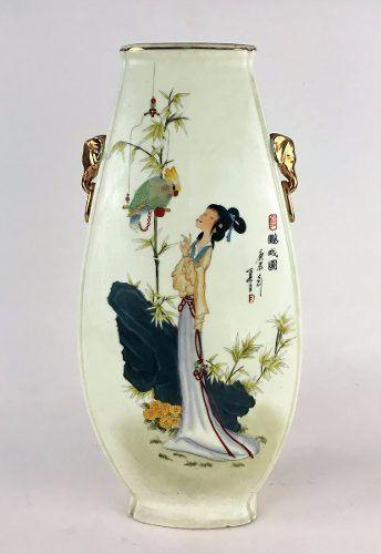 Antigo Vaso Porcelana Oriental 51cm Altura