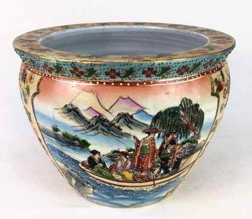 Grande Vaso Cachepot Aquario Porcelana Oriental