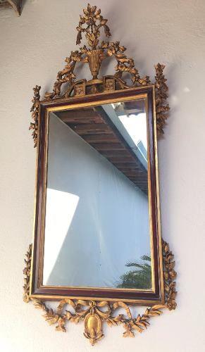 Antigo Espelho Clássico Luis Xvi Folheado A Ouro