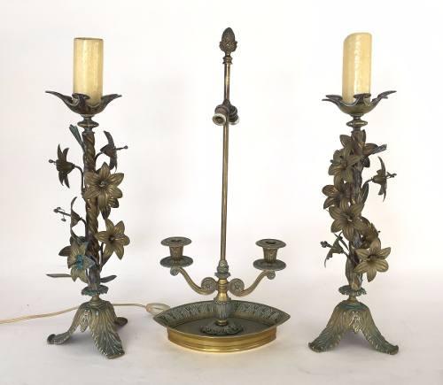 Antigo Trio Castiçal E Luminária Bronze
