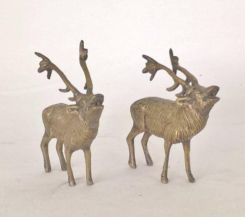 Antigo Casal De Cervo Em Bronze