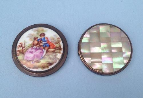 Par De Caixinha Com Espelho Porcelana E Madreperola