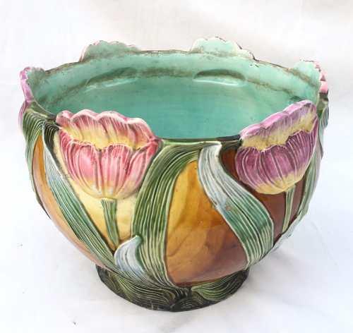 Antigo E Belo Cachepot Em Ceramica Vitrificada Detalhes De Flores