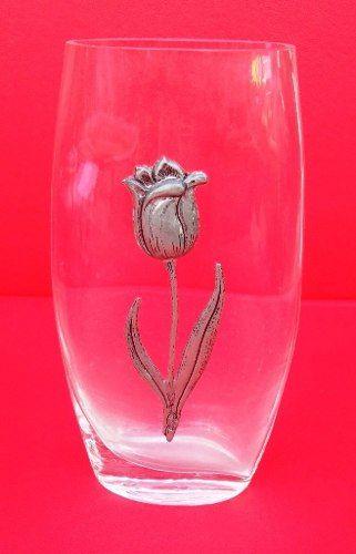 Lindo Vaso Em Vidro Detalhe Flor Em Estanho