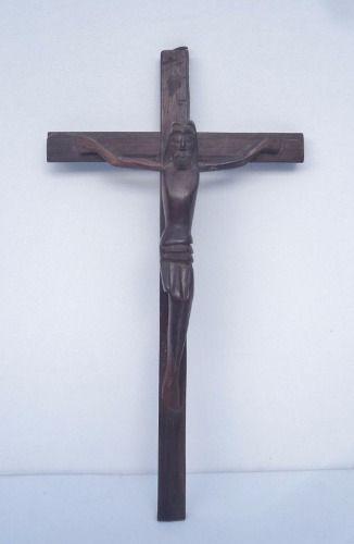 Antigo Crucifixo De Parede Em Jacarandá
