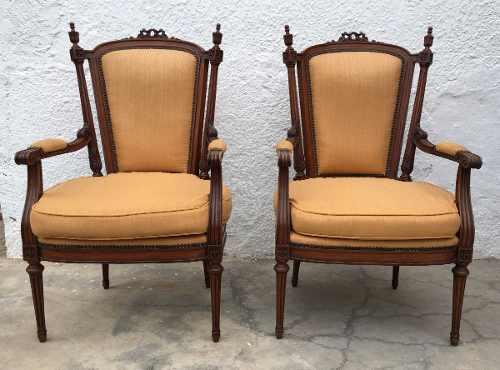 Antigo Par De Cadeiras Luis Xvi Belo Entalhe