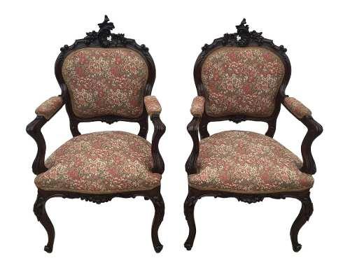 Antigo Par De Cadeira Luis Xv Belissimo Entalhe Tecido Nobre