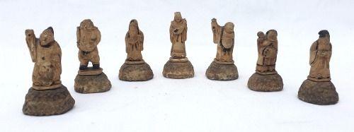 Netsukes - Deuses Da Felicidade Em Miniatura Gesso Antigo